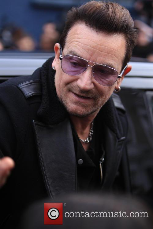Bono arrives at Band Aid 30 recording