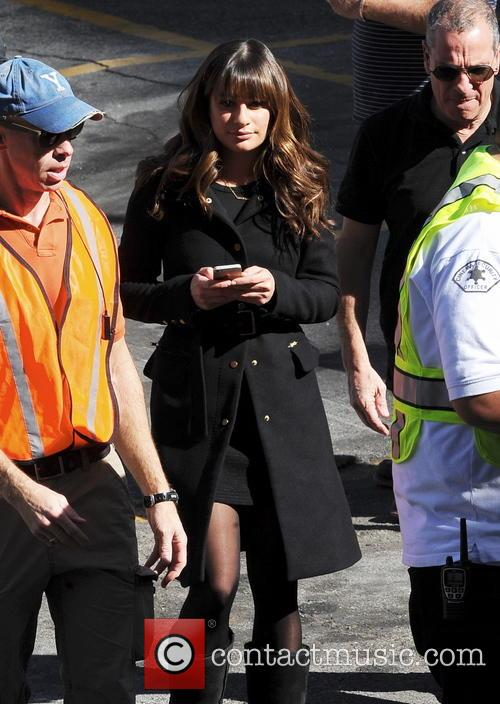 Lea Michele on the set of 'Glee'