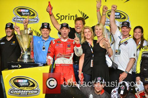 Team Owner Tony Stewart, Kevin Harvick, Driver Of The #4 Budweiser Chevrolet and Delana Harvick 1
