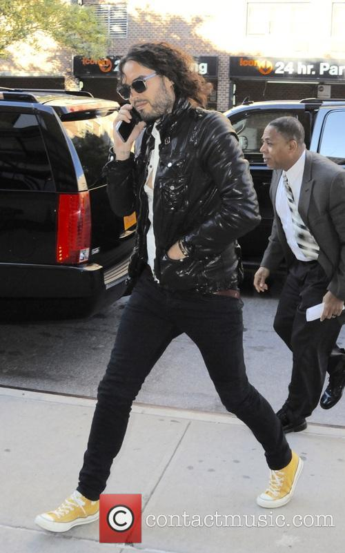 Russel Brand returning to his hotel in TriBeCa