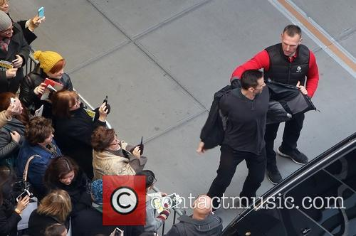 Hugh Jackman leaves the Circle in the Square...