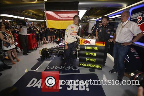 Sebastian Vettel, Christian Horner and Hemult Marko 4