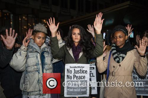 Solidarity with Ferguson protest at the US Embassy...