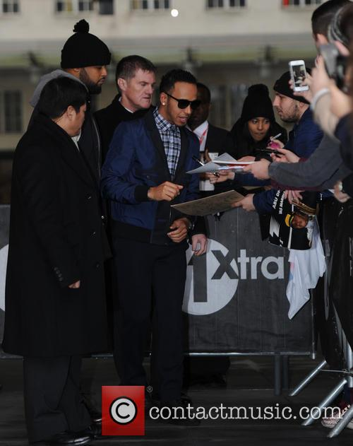 Lewis Hamilton at the BBC Radio 1 studios
