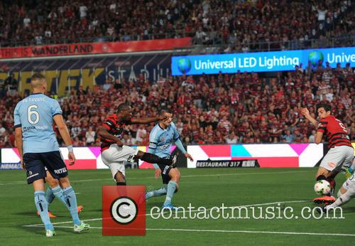 Romeo Castelen Shot Deflected To Goal By Tomi Juric Sydney Fc V 5