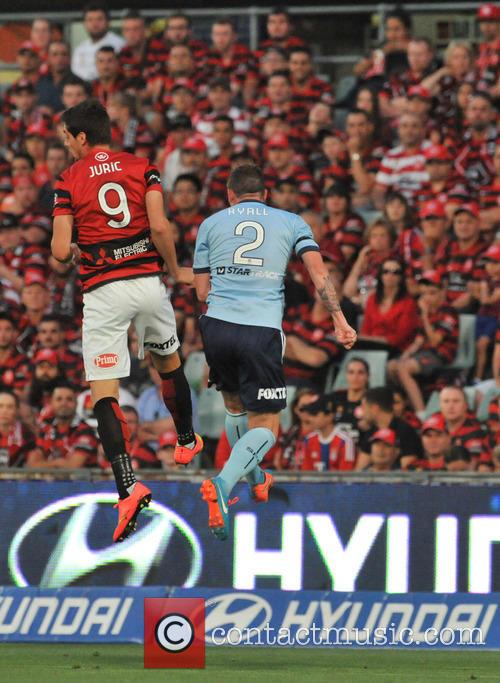 Tomi Juric and Seb Ryall Jump For The Ball Sydney Fc V Western S 6