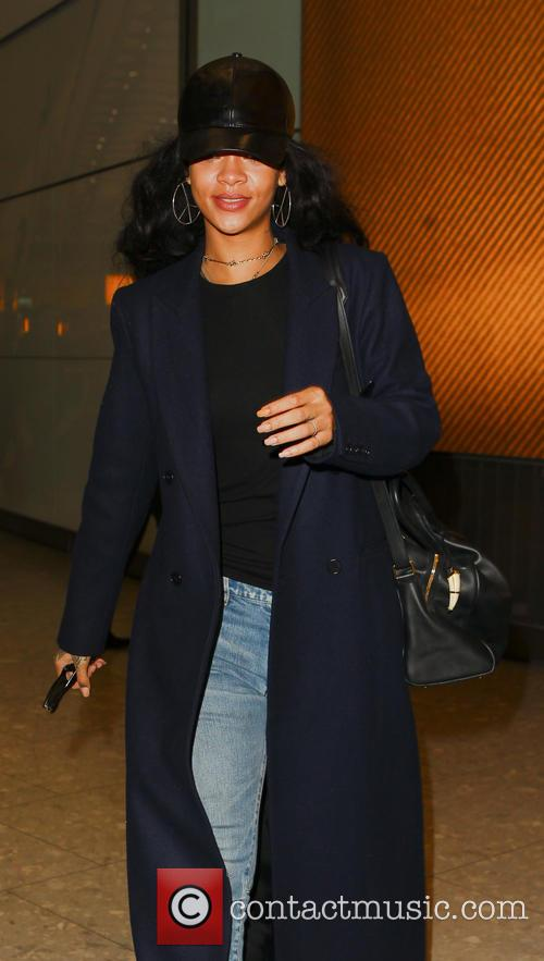 Rihanna arrives at Heathrow Airport