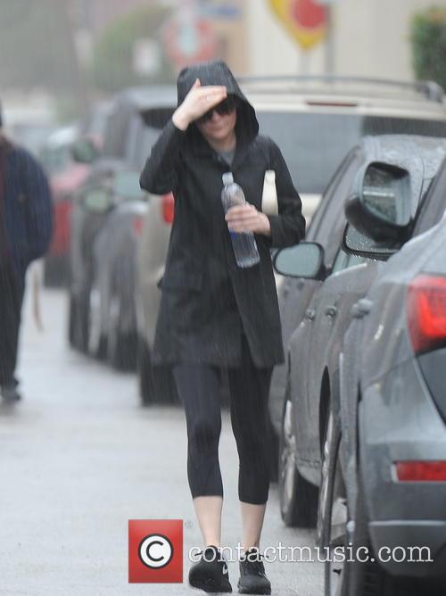 Kirsten Dunst in the rain