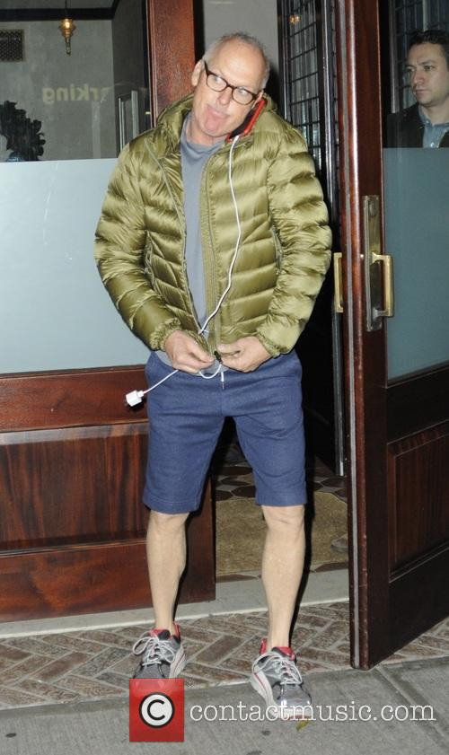 Michael Keaton leaving his hotel in New York...