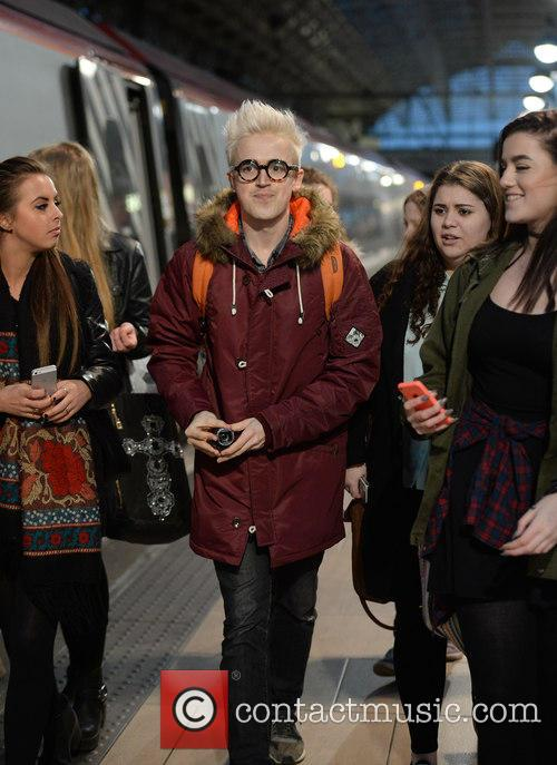 'McBusted' arrive at Manchester Piccadilly train station