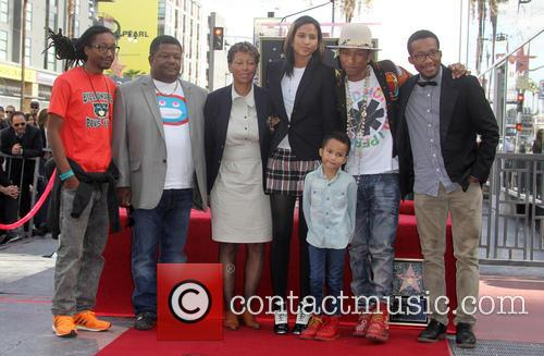 Pharrell Williams, Helen Lasichanh, Rocket Ayer Williams and Family