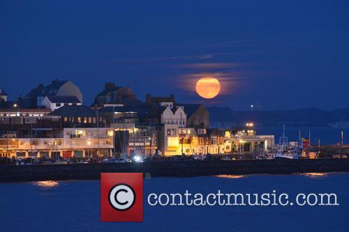 A stunning full moon appears in Bridlington, East...