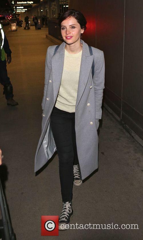 Felicity Jones arrives at LAX