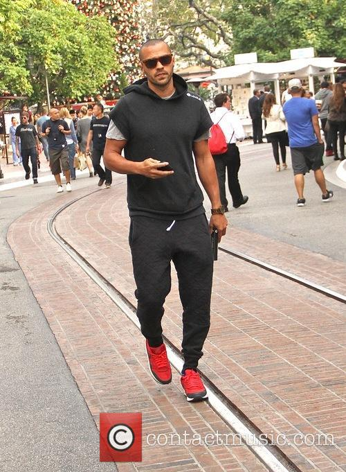 Jesse Williams goes shopping at The Grove