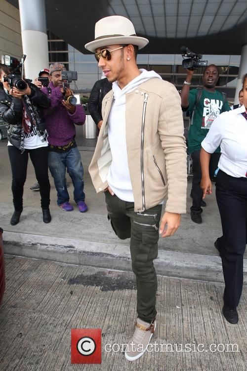 Lewis Hamilton at Los Angeles International Airport
