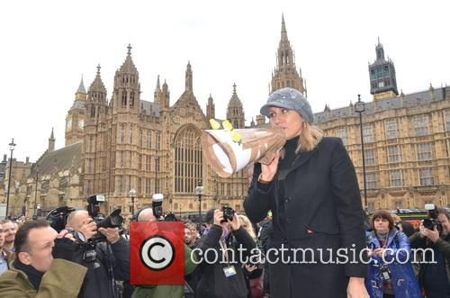 Protesters gather outside Westminster Abbey to rally against...