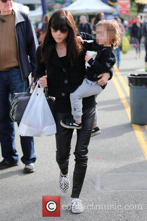 Selma Blair visits the Farmers Market with her...