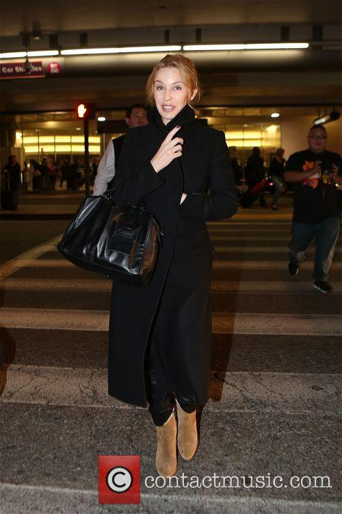 Kylie Minogue arrives at Los Angeles International Airport