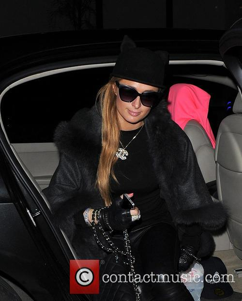 Paris Hilton arrives back at her hotel in...