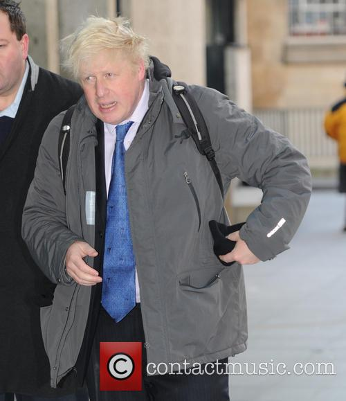 Boris Johnson arriving at BBC Radio