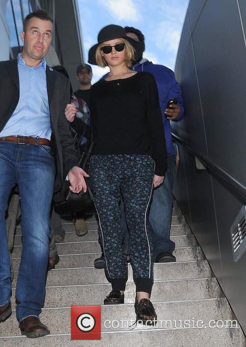 Jennifer Lawrence arriving at Los Angeles International Airport