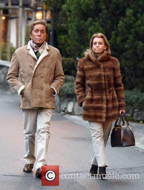 Valentino Garavani takes a Christmas Day walk whilst...