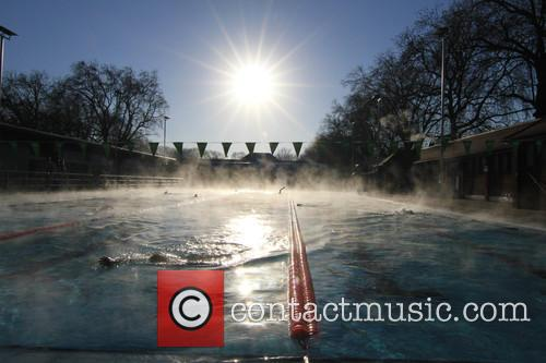 View and Swimmers In Steamy Lido Of London Fields. 1