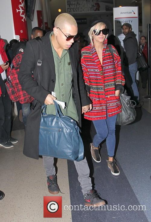 Ashlee Simpson and Evan Ross at Los Angeles...