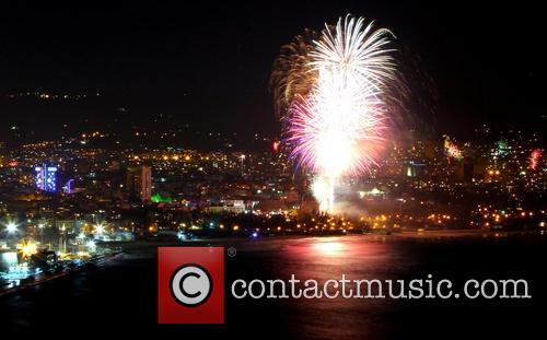 Fireworks explode east of the Bulgarian capital Sofia...