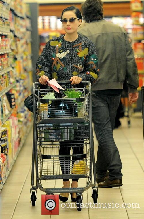 Dita Von Teese shopping at Gelson's Markets