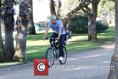 Josh Duhamel on a cycle ride with his...