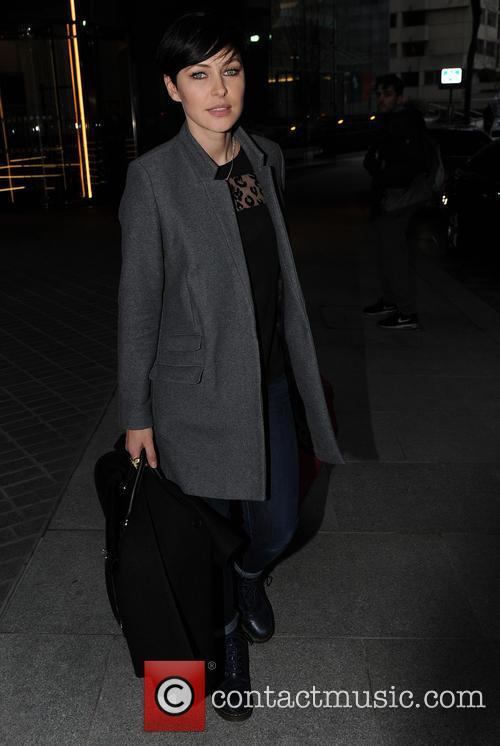 Emma Willis and Marvin Humes leaving the Mondrian...