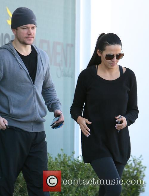 Matt Damon and his wife Luciana Barroso leaving...