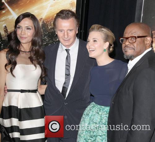 [L-R] Famke Janssen, Liam Neeson, Maggie Grace And Forest Whitaker at 'Taken 3' premiere
