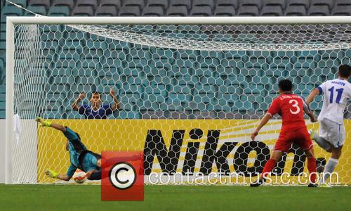2015 AFC finals match Uzbekistan vs. DPR Korea....