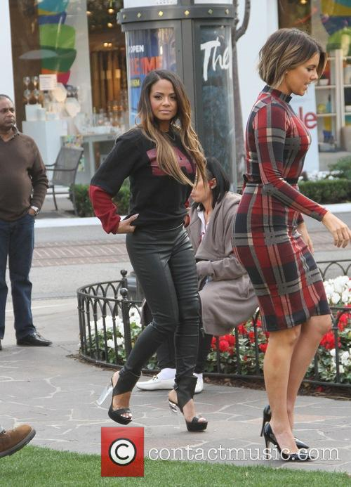 Christina Milian conducting an interview at The Grove