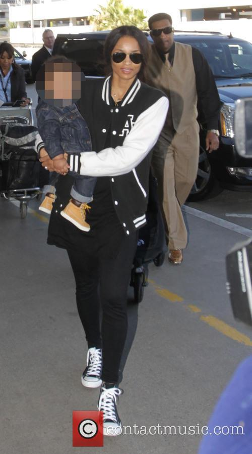 Ciara with her son departs from Los Angeles...