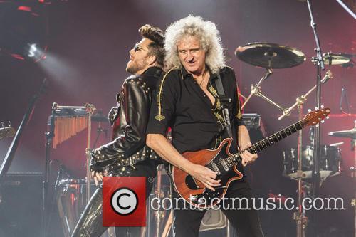 Adam Lambert and Brian May perform at the Barclaycard Arena as part of Queen + Adam Lambert's 2015 European tour.