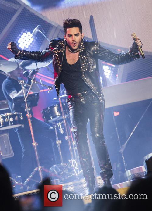 Adam Lambert on stage with Queen at the Barclaycard Arena as part of their 2015 European tour.