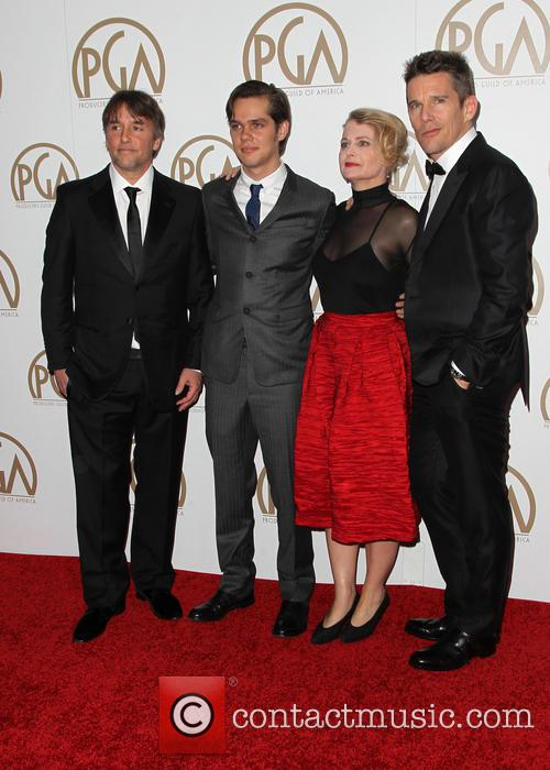 Ellar Coltrane, Ethan Hawke, Richard Linklater and Cathleen Sutherland 1
