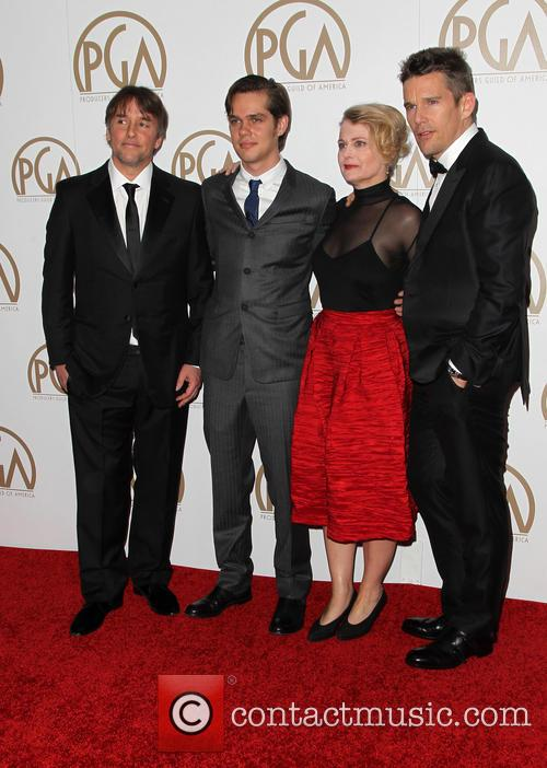Ellar Coltrane, Ethan Hawke, Richard Linklater and Cathleen Sutherland 2