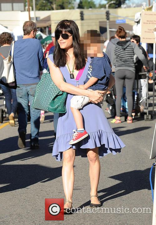 Selma Blair takes her son to the Famers...