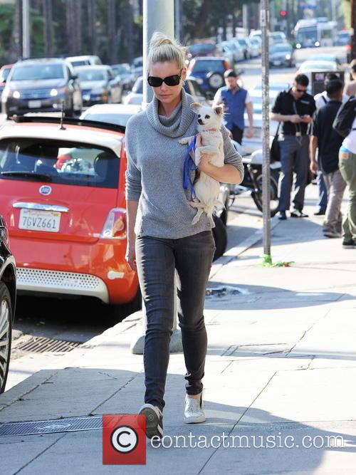 Katherine Heigl craddles her pooch like a baby