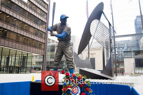 Ernie Banks statue stand at Chicago's Daley Plaza...