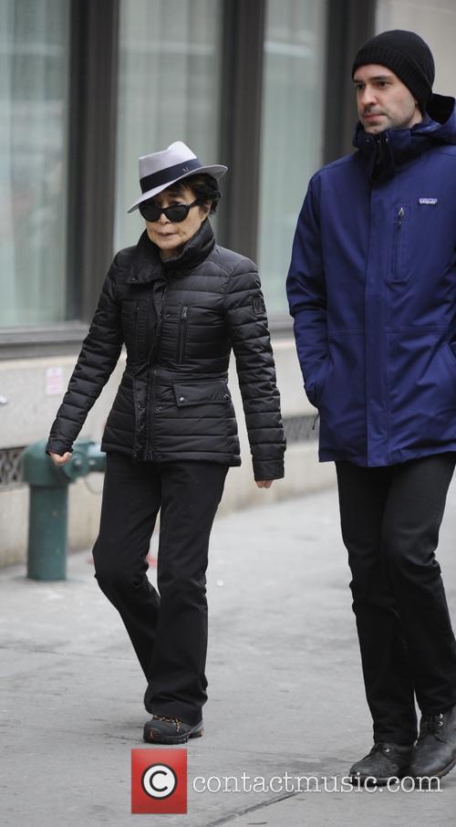 Yoko Ono walking in TriBeCa