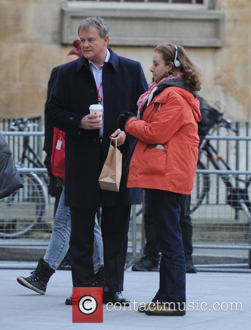 Hugh Bonneville filming in London