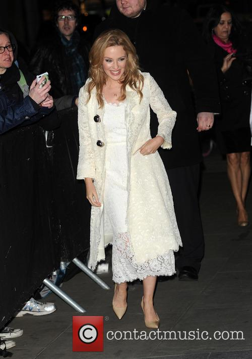 Kylie Minogue arrives at the BBC