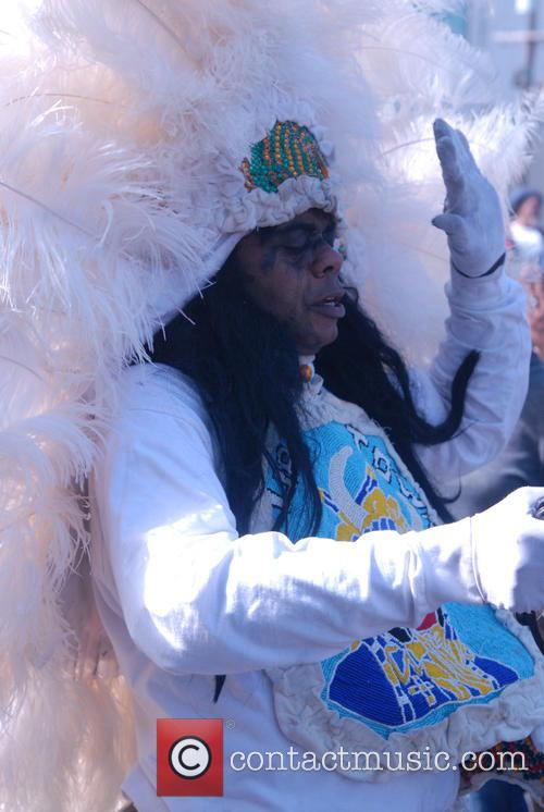 New Orleans Mardi Gras Indians gather for the...