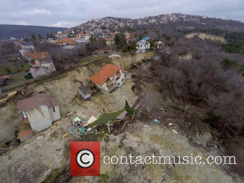 Homes destroyed by Bulgarian landslide