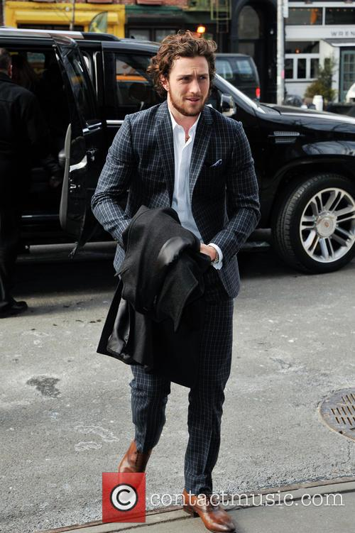 Aaron Taylor-Johnson arrives at his hotel in Manhattan